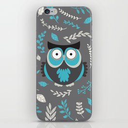 BLUE OWL AND LEAVES iPhone Skin
