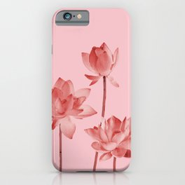 Three Lotos Flowers pink Design iPhone Case