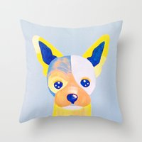 chihuahua Throw Pillows featuring Chihuahua  by Adriannedesignss