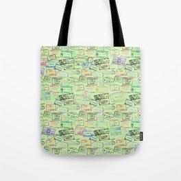 Worldly Traveler - Passport Pattern - Light Green Tote Bag
