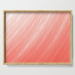 Living Coral Wavy Ombre Pattern Serving Tray