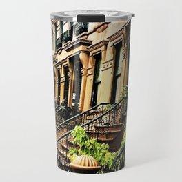 Harlem Brownstones on a summer's day Travel Mug