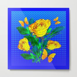 YELLOW BUTTERFLIES, ROSES, & BLUE OPTICAL ART Metal Print