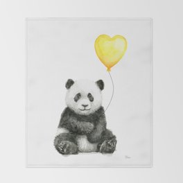 Panda with Yellow Balloon Baby Animal Watercolor Nursery Art Throw Blanket