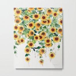 Sunflowers and Eucalyptus Garland  Metal Print