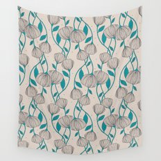 Blue Stem Flowers Wall Tapestry
