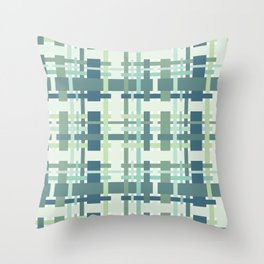 Woven design teal blue and green Throw Pillow
