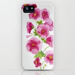Watercolour Hollyhocks iPhone Case