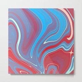 Blue Red Marble 1 Metal Print