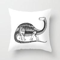 dinosaur Throw Pillows featuring Dinosaur by Nicole Whelan
