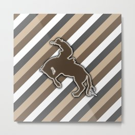 Cowboy Rodeo Bucking Horse Design Metal Print