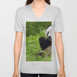 Exotic Super Dainty Grown Panda Bear Chewing On Bamboo Twig In Jungle Close Up Ultra High Res Unisex V-Neck