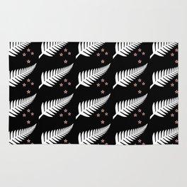 New Zealand Silver Fern Flag Black Pattern Rug