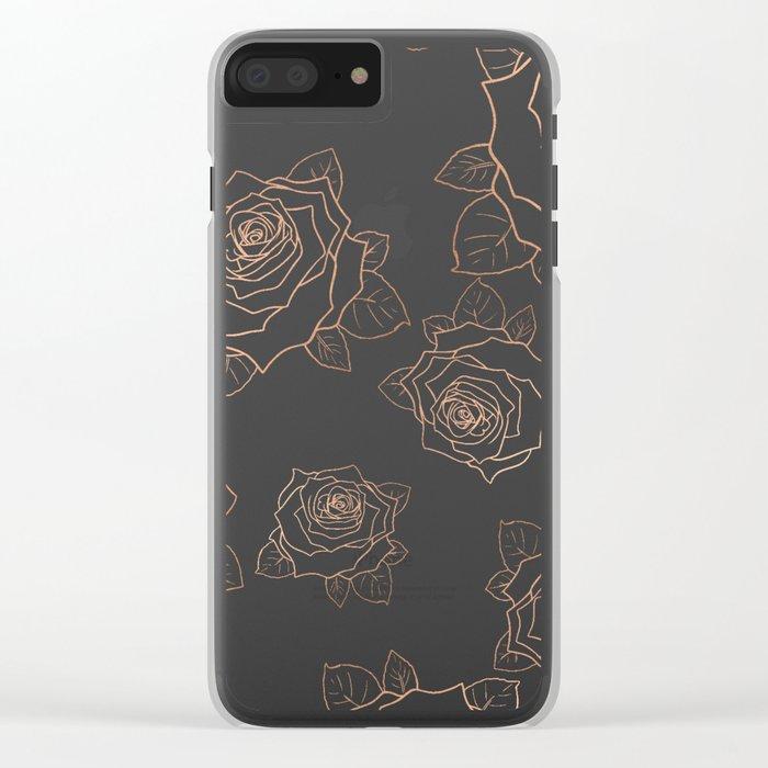 Metallic Roses Clear iPhone Case