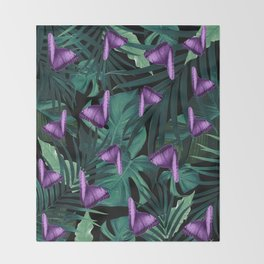 Tropical Butterfly Jungle Night Leaves Pattern #4 #tropical #decor #art #society6 Throw Blanket