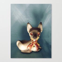 Demon Siamese Cat With Plastic Gemstone Eyes Canvas Print