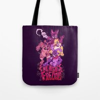 fnaf Tote Bags featuring Five Nights at Freddy's by Camille Dion-Bolduc