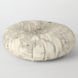 Vintage Map of Parma Italy (1840) Floor Pillow