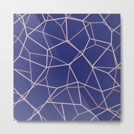 Blue Purple Geometric Architectural Pattern Metal Print