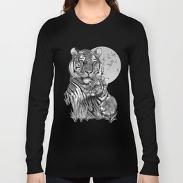 Tiger with Cub (B/W) Long Sleeve T-shirt