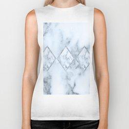 White marble blue tint geometric design Biker Tank