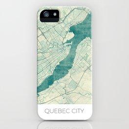 Quebec City Map Blue Vintage iPhone Case