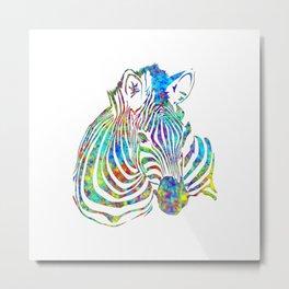 Colorful Watercolor Zebra Metal Print