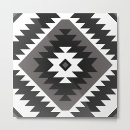 Tangiers Kilim in Black and White Metal Print