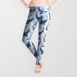 Koi Fish Dance / blue watercolor Leggings