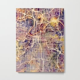 Kansas City Missouri City Map Metal Print