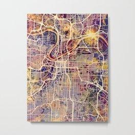 Kansas City Missouri City Map Metal Print