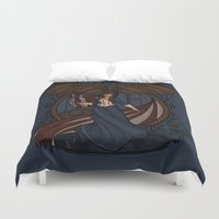 nouveau Duvet Covers featuring Elizabeth Nouveau by Karen Hallion Illustrations