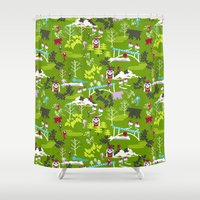 hiking Shower Curtains featuring Hiking by misslin