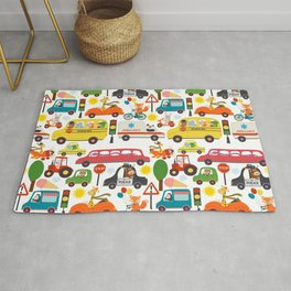 Busy City Zoo Animal Transportation Pattern Rug