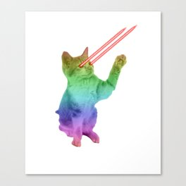 Laser Eyes Space Cat Shooting Earth Canvas Print