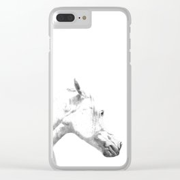 White Horse Profile Clear iPhone Case