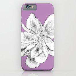 Sketchy Malva Flower Drawing (purple back) iPhone Case