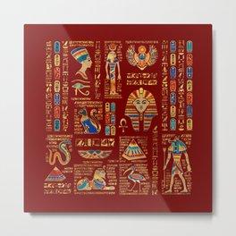 Egyptian hieroglyphs and deities on red Metal Print