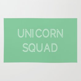 Unicorn Squad - Mint Green and White Rug