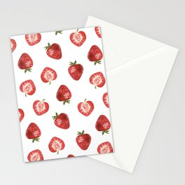 Watercolor Hand-panted Food Strawberry Seamless Pattern Stationery Cards