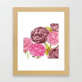 Ranunculus + Peonies Framed Art Print