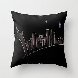 Far Away From The Neon Sky Throw Pillow