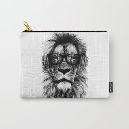 Hipster Lion White Carry-All Pouch