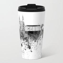 Minsk skyline in black watercolor on white background Travel Mug