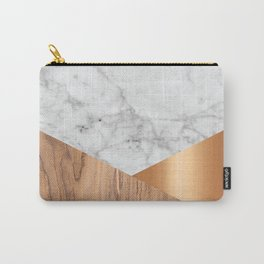 Geometric White Marble - Wood & Rose Gold #761 Carry-All Pouch