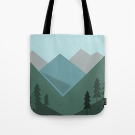 Mountains in the forest Tote Bag
