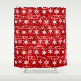 Openwork white snowflakes on red Shower Curtain