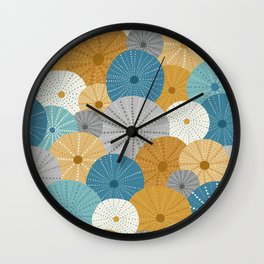 Sea Urchins in Blue + Gold Wall Clock