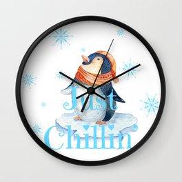 Just chillin penguin Wall Clock