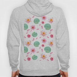 Watercolor blush pink green yellow water lilies lotus floral Hoody